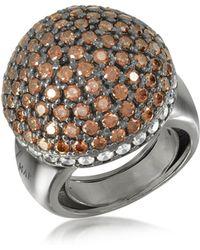 Azhar Cocktail Ring mit Zirkon - Braun