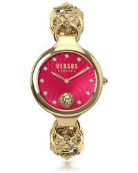 Versus - Broadwood Gold Tone Stainless Steel Women's Bracelet Watch W/red Dial And Crystals - Lyst