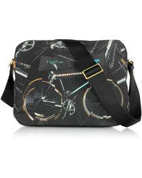 Paul Smith - Black Canvas Bike Print Messenger Bag - Lyst