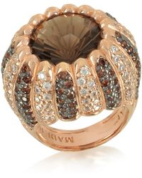 Azhar Rose Sterling Silver Riccio Ring w/two-tone Cubic Zirconia and Brown Stone - Marrón