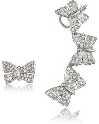 Bernard Delettrez - Butterflies White Gold Earrings W/diamonds - Lyst