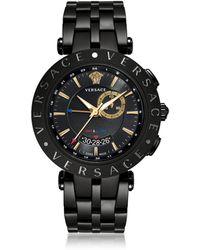 Versace V-Race GMT Orologio da Uomo in Acciaio Nero e Quadrante Nero e Oro