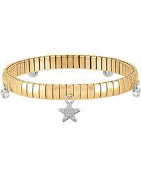 Nomination Damen Armband aus vergoldetem PVD Edelstahl mit Sterlingsilber-Stern und Zirkon-Würfel - Mettallic