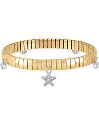 Nomination - Stainless Steel Women's Bracelet W/stearling Silver Star And Cubic Zirconia - Lyst