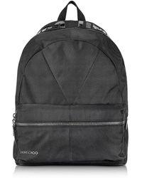 Jimmy Choo Reed JIC Black Canvas and Woven Nylon Backpack - Noir
