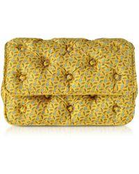 Benedetta Bruzziches Sharks Printed Yellow Satin Silk Carmen Clutch w/ Golden Hand - Amarillo