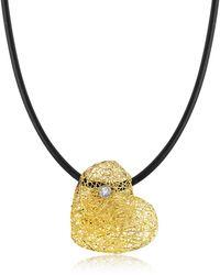 Orlando Orlandini - Woven Light Yellow Gold Heart Pendant Necklace W/diamond - Lyst
