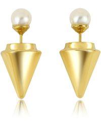 Vita Fede - Gold Plated Double Titan Pearl Earrings W/akoya Pearls - Lyst
