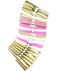 Pluma - Gold White And Pink Fishbone Bangle - Lyst