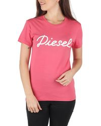DIESEL T Sully Ah B Pink Printed Cotton T-Shirt