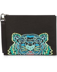 KENZO Kampus Canvas Tiger Large Pouch - Negro