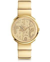 Ferragamo Logomania Gold IP Sunray Stainless Steel Women's Watch w/Ferragamo Lettering Dial - Mettallic