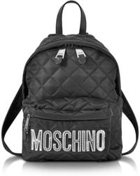 Moschino Black Quilted Nylon Small Backpack W/silver Logo