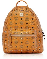 MCM - Small Cognac Studded Outline Visetos Stark Backpack - Lyst