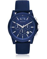 Armani Exchange Orologio Uomo con Cronografo Outerbanks in Acciaio e Silicone Blu