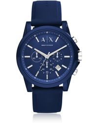 Armani Exchange - Outerbanks Blue Silicone Men's Chronograph Watch - Lyst