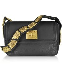 RED Valentino - Large Black Pebble Leather Sin Crossbody Bag - Lyst