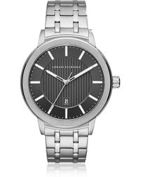 Armani Exchange - Maddox Black Dial And Silver Tone Stainless Steel Men's Watch - Lyst