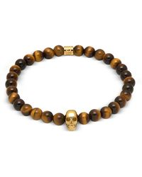 Northskull Yellow Tiger Eye And Gold Atticus Skull Bracelet - Brown