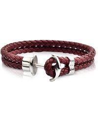 FORZIERI Light Brown Leather Men's Bracelet w/Anchor - Braun
