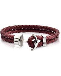 FORZIERI Light Brown Leather Men's Bracelet w/Anchor