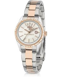 Maserati Competizione Silver And Rose Golden Stainless Steel Women's Watch - Metallic