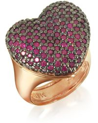 Azhar Rose Sterling Silver I Love You Ring W/red Cubic Zirconia - Multicolor