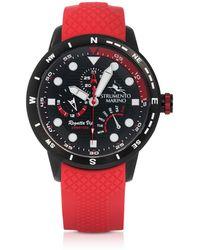 Strumento Marino - Regatta Vip Black Stainless Steel Men's Chronograph Watch W/red Silicone Band - Lyst