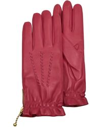 FORZIERI - Women's Embroidered Red Calf Leather Gloves - Lyst