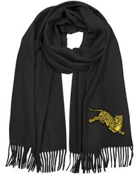 KENZO - Jumping Tiger Fringed Wool Scarf - Lyst