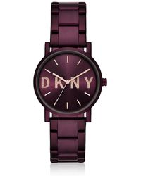 DKNY - Soho Purple Tone Signature Glitz Watch - Lyst