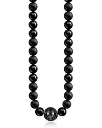 Thomas Sabo Power Blackened Sterling Silver Men's Necklace w/Obsidian Matt and Polished Beads - Schwarz