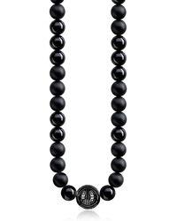 Thomas Sabo Power Blackened Sterling Silver Men's Necklace w/Obsidian Matt and Polished Beads - Métallisé