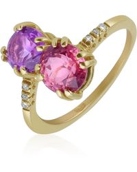 FORZIERI - Double Gemstone And Diamond Yellow Gold Ring - Lyst