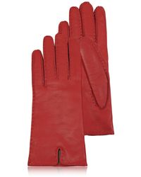 FORZIERI - Women's Cashmere Lined Red Italian Leather Gloves - Lyst