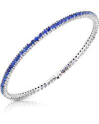 FORZIERI Blue Sapphire 18K Gold Tennis Bracelet - Blau
