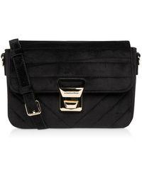 Lancaster Actual Velvet Couture Flap Crossbody Bag - Negro