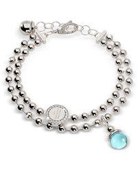 Rebecca Boulevard Stone Rhodium Over Bronze Double Beadball Chain Bracelet W/hydrothermal Turquoise Stone - Metallic