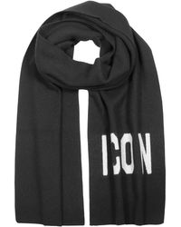 DSquared² Woven Icon Logo Wool Knit Scarf - Noir