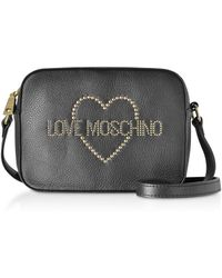 Love Moschino Small Leather Crossbody bag w/ Golden Studs - Negro