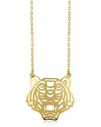 KENZO - Gold Plated Tiger Necklace - Lyst