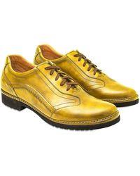 Pakerson Handgefertigte Schnürschuhe aus italienischem Leder in ockerfarben - Gelb
