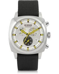 Versus - Riverdale Silver Tone Stainless Steel And Canvas Strap Men's Watch - Lyst