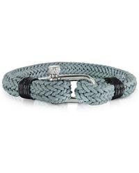 FORZIERI Ice Grey Woven Rope Men's Bracelet - Grau