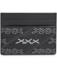 Ermenegildo Zegna Black Coated Canvas Signature Card Holder - Noir
