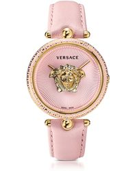 Versace - Palazzo Empire Pink And Pvd Plated Gold Unisex Watch W/3d Medusa - Lyst