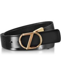 Ermenegildo Zegna Black Embossed Leather Adjustable and Reversible Men's Belt w/Signature Buckle - Schwarz