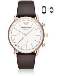 Emporio Armani Hybrid Smartwatch Brown Leather - Multicolor
