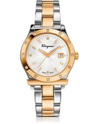 Ferragamo Ferragamo 1898 Gold Ip And Stainless Steel Men's Watch - Metallic