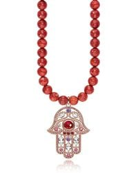 Thomas Sabo Rose Gold Plated Sterling Hand of Fatima and Red Coral Long Necklace w/Pink Zirconia - Rosa